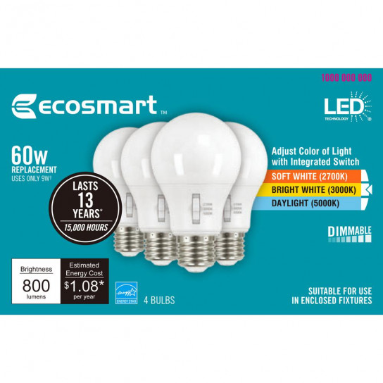 Ecosmart daylight bulb adjust color 1 box  393