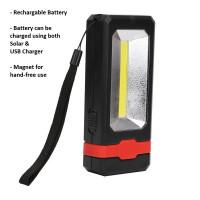 COB usb rechargeable led flashlight light magnetic pocket inspection work light